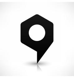 Black hexagon map pin sign blank location icon vector