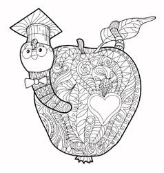 Bookworm doodle vector