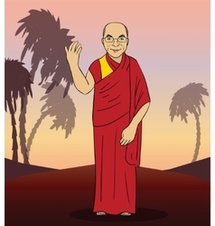 Cartoon figure of buddhist monk vector
