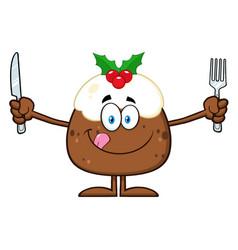 Christmas pudding cartoon character vector