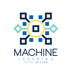 Colored geometric logo of machine learning vector