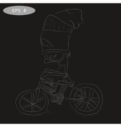 Cool cartoon cyclist on bike with glass vector image vector image