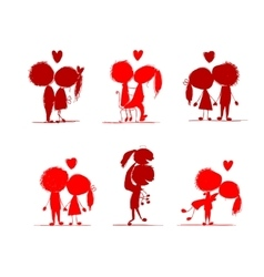 Couple in love together valentine sketch for your vector image vector image