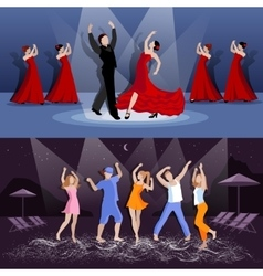 Dancing people compositions vector