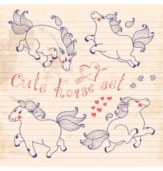 Drawing young horses on notebook sheet vector