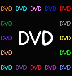 Dvd icon sign lots of colorful symbols for your vector