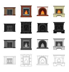 Fireplace fire warmth and comfort different vector