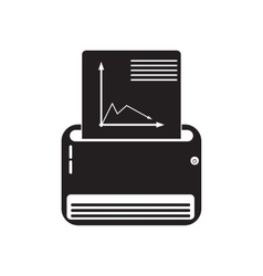 Flat icon in black and white fax vector