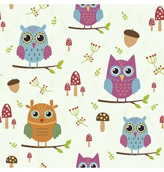 Forest seamless pattern with cute owls vector