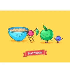 funny cartoon Fruit diet Porridge and vector image vector image