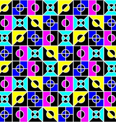 Geometric seamless pattern in bright colors vector