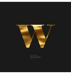 Golden letter w vector