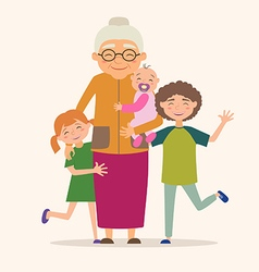 Grandmother with her grandchildren vector image vector image