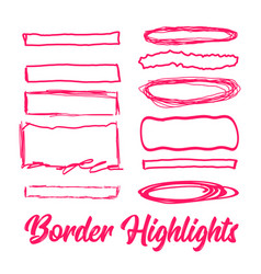 Hand drawn highlighter elements borders vector