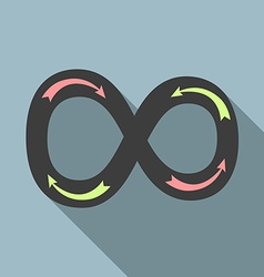 Infinity sign with arrows vector image vector image