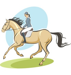 jockey on a horse vector image vector image