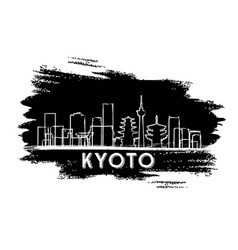 kyoto japan skyline silhouette hand drawn sketch vector image vector image