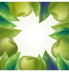leaves and green apple frame vector image vector image