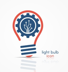 Light bulb idea icon with gear and circuit board vector