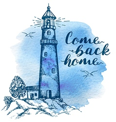 Lighthouse in vintage style vector