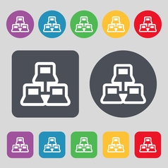 local area network icon sign A set of 12 colored vector image vector image