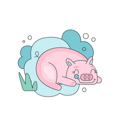 lovely with sleepy pink pig against vector image vector image