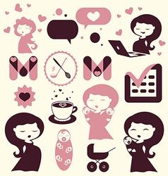 Maternity cartoon icons vector image vector image