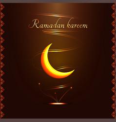 Ramadan kareem golden sign with frame - vector