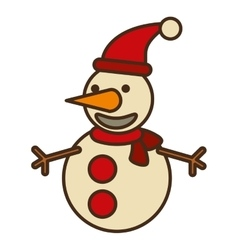 Snowman christmas character isolated icon vector