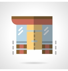 Storefronts flat color icon Supermarket vector image vector image