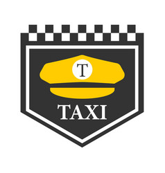 taxi logo with black and white checkers driver vector image