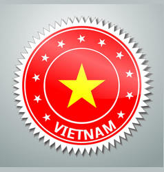 Vietnamese flag label vector image vector image