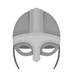 Viking helmet icon in monochrome style isolated on vector image