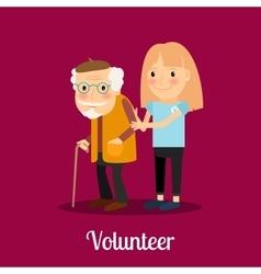 Volunteer girl caring for elderly man vector