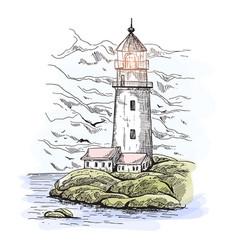 warehouse buildings near lighthouse on island vector image