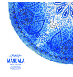 Watercolor mandala lace ornament made of round vector