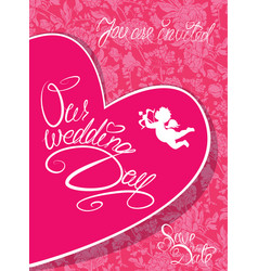 wedding invitation card with heart angel and vector image vector image