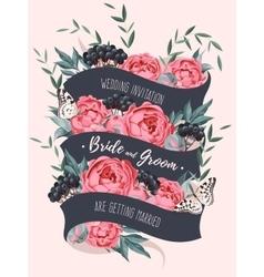 Wedding invitation with ribbon vector image vector image
