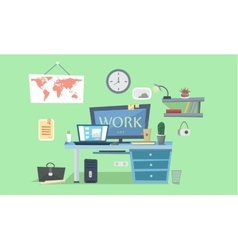 Work place designer work space desk with vector