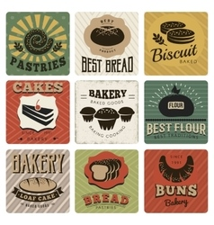 Bakery retro style cards vector