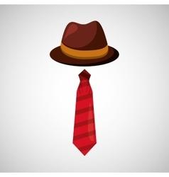 cartoon tie hat father day symbol vector image