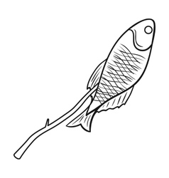 Fried fish icon in outline style isolated on white vector image