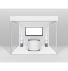 Indoor booth stand with counter screen booklet vector