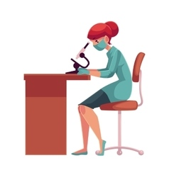 Laboratory assistant wearing mask sits at table vector image