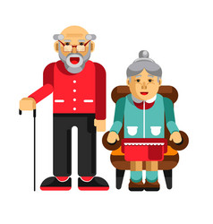 Happy pensioners couple elderly man with stick vector