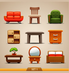 Furniture icons-set 1 vector
