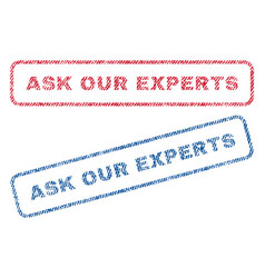 Ask our experts textile stamps vector