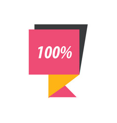 Label hundred percent pink yellow black vector