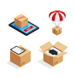 Parcel delivery stages set vector
