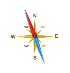 Compass with shadow vector